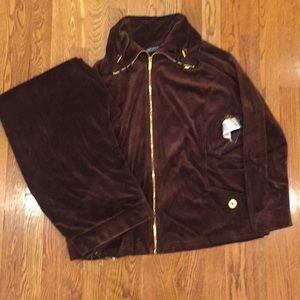 NWT Jones of New York Brown Velvet Leisure Suit
